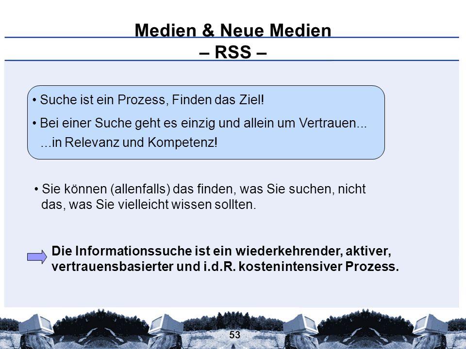 53 Medien & Neue Medien – RSS – Suche ist ein Prozess, Finden das Ziel! Bei einer Suche geht es einzig und allein um Vertrauen... Sie können (allenfal