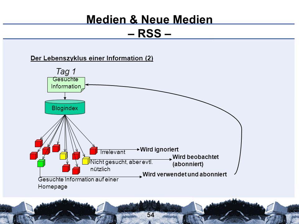54 Medien & Neue Medien – RSS – Gesuchte Information Blogindex Gesuchte Information auf einer Homepage Nicht gesucht, aber evtl. nützlich Irrelevant W
