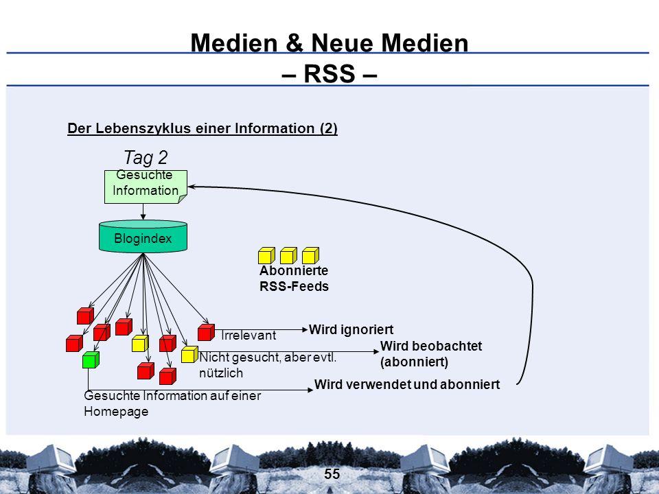55 Medien & Neue Medien – RSS – Gesuchte Information Blogindex Gesuchte Information auf einer Homepage Nicht gesucht, aber evtl. nützlich Irrelevant W