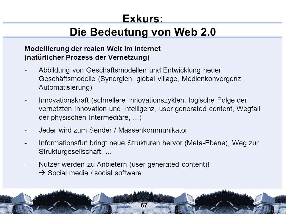 67 Exkurs: Die Bedeutung von Web 2.0 Modellierung der realen Welt im Internet (natürlicher Prozess der Vernetzung) -Abbildung von Geschäftsmodellen un