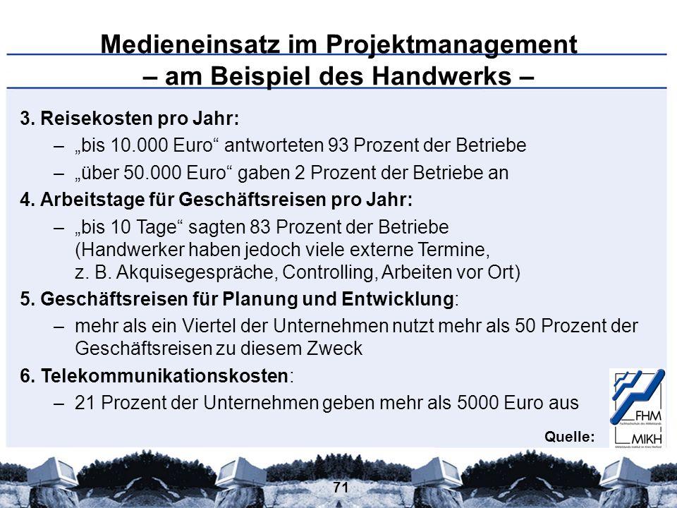 71 Medieneinsatz im Projektmanagement – am Beispiel des Handwerks – 3. Reisekosten pro Jahr: –bis 10.000 Euro antworteten 93 Prozent der Betriebe –übe