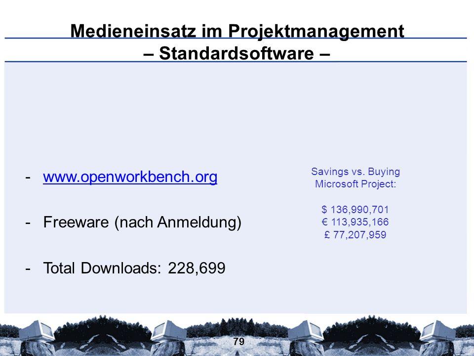 79 Medieneinsatz im Projektmanagement – Standardsoftware – -www.openworkbench.orgwww.openworkbench.org -Freeware (nach Anmeldung) -Total Downloads: 22
