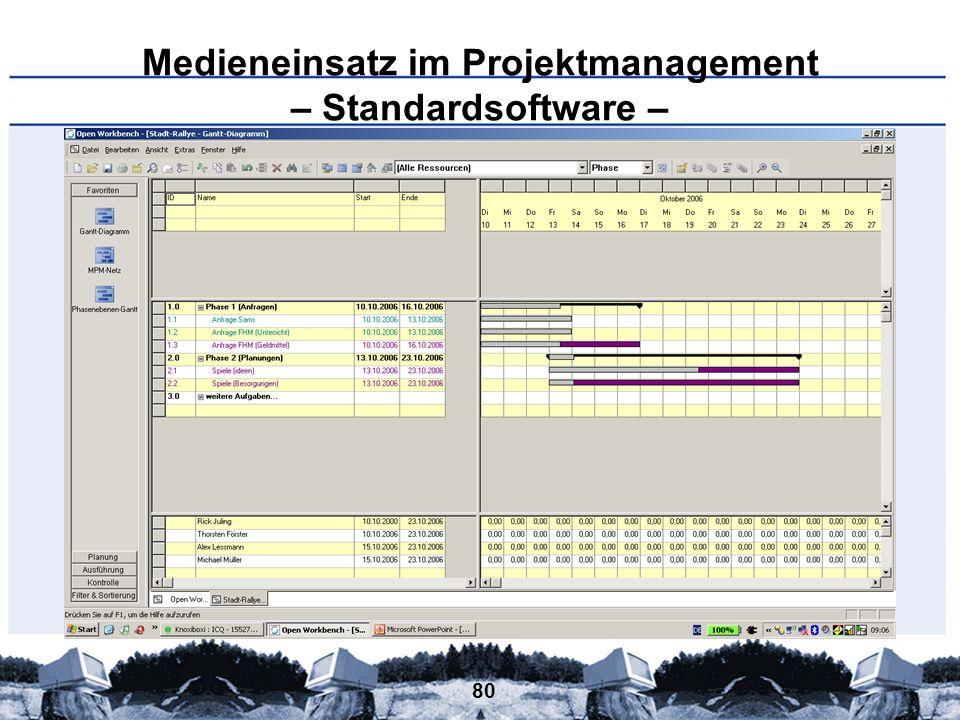 80 Medieneinsatz im Projektmanagement – Standardsoftware –