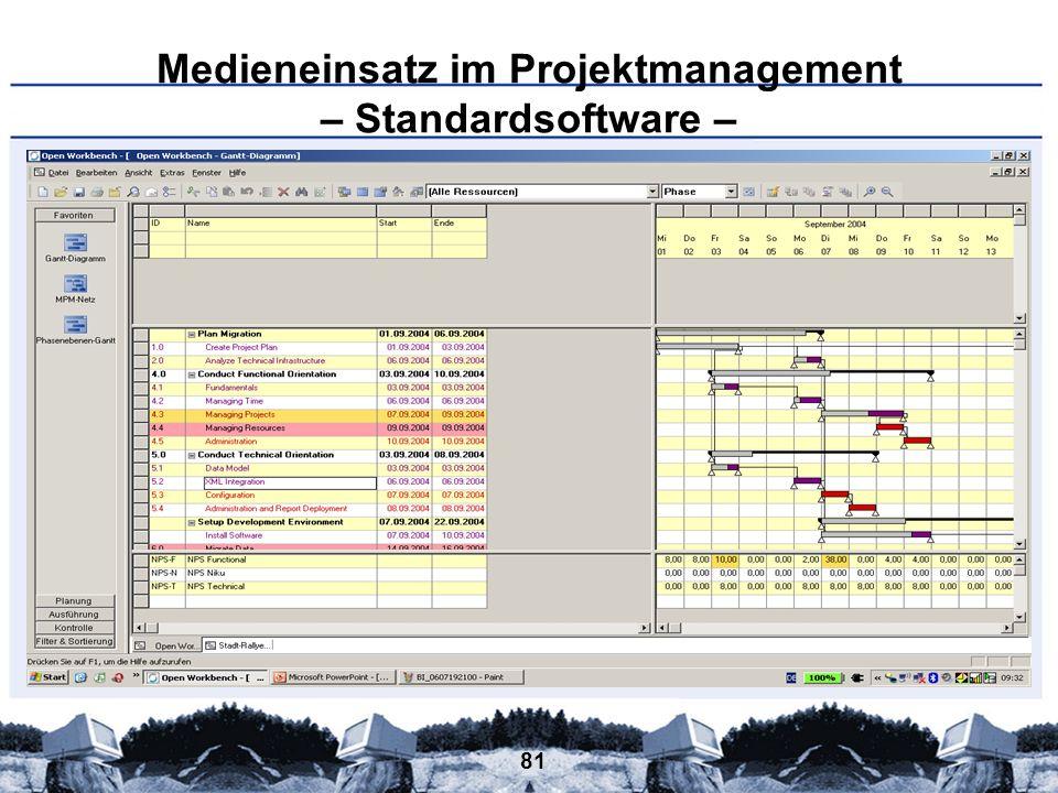 81 Medieneinsatz im Projektmanagement – Standardsoftware –