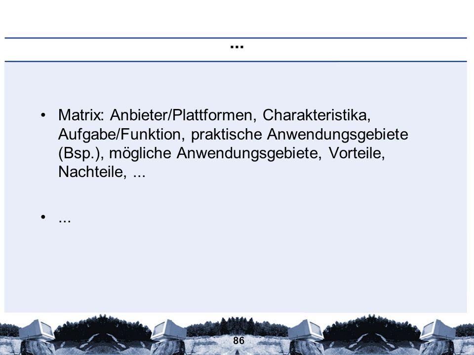 86... Matrix: Anbieter/Plattformen, Charakteristika, Aufgabe/Funktion, praktische Anwendungsgebiete (Bsp.), mögliche Anwendungsgebiete, Vorteile, Nach