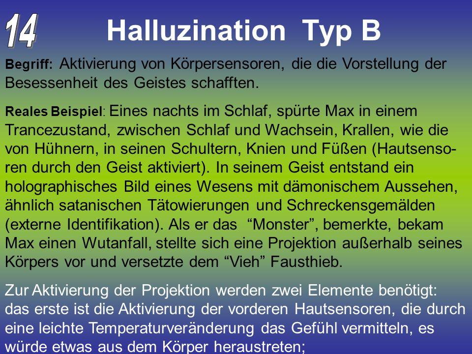 Halluzination Typ B Begriff: Aktivierung von Körpersensoren, die die Vorstellung der Besessenheit des Geistes schafften. Reales Beispiel: Eines nachts