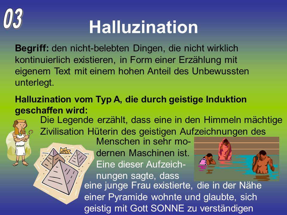 Halluzination Begriff: den nicht-belebten Dingen, die nicht wirklich kontinuierlich existieren, in Form einer Erzählung mit eigenem Text mit einem hoh