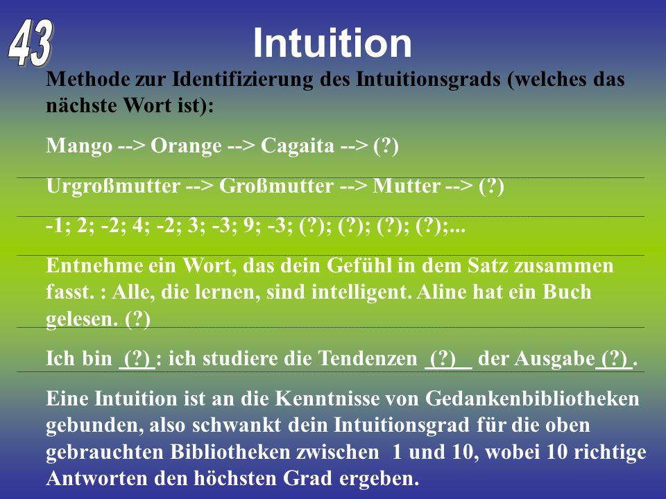 Intuition Methode zur Identifizierung des Intuitionsgrads (welches das nächste Wort ist): Mango --> Orange --> Cagaita --> (?) Urgroßmutter --> Großmu