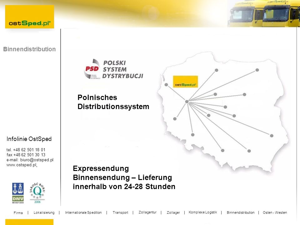 Infolinie OstSped tel. +48 62 501 18 01 fax +48 62 501 30 13 e-mail: biuro@ostsped.pl www.ostsped.pl Binnendistribution Expressendung Binnensendung –