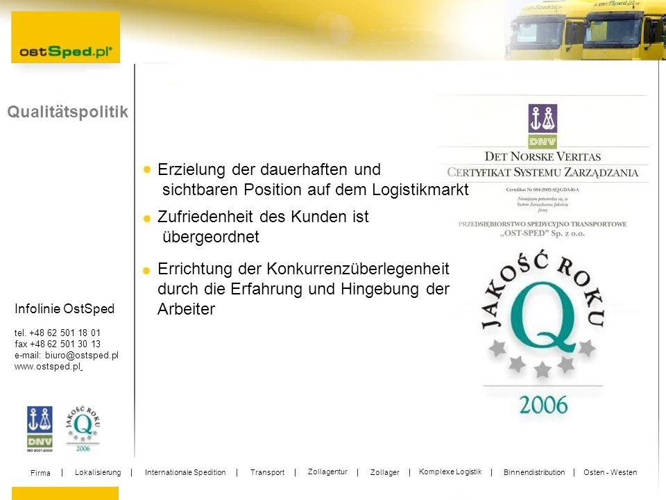 Infolinie OstSped tel. +48 62 501 18 01 fax +48 62 501 30 13 e-mail: biuro@ostsped.pl www.ostsped.pl Qualitätspolitik Erzielung der dauerhaften und si