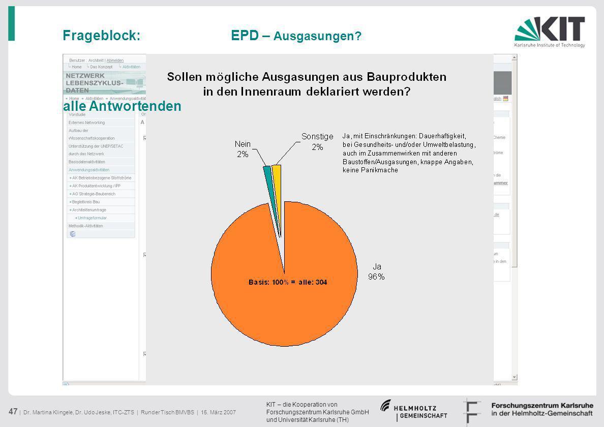 KIT – die Kooperation von Forschungszentrum Karlsruhe GmbH und Universität Karlsruhe (TH) 47 | Dr. Martina Klingele, Dr. Udo Jeske, ITC-ZTS | Runder T