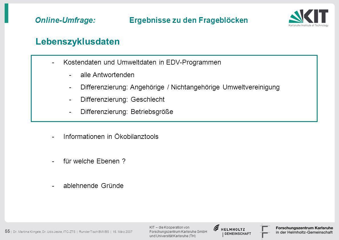 KIT – die Kooperation von Forschungszentrum Karlsruhe GmbH und Universität Karlsruhe (TH) 55 | Dr. Martina Klingele, Dr. Udo Jeske, ITC-ZTS | Runder T