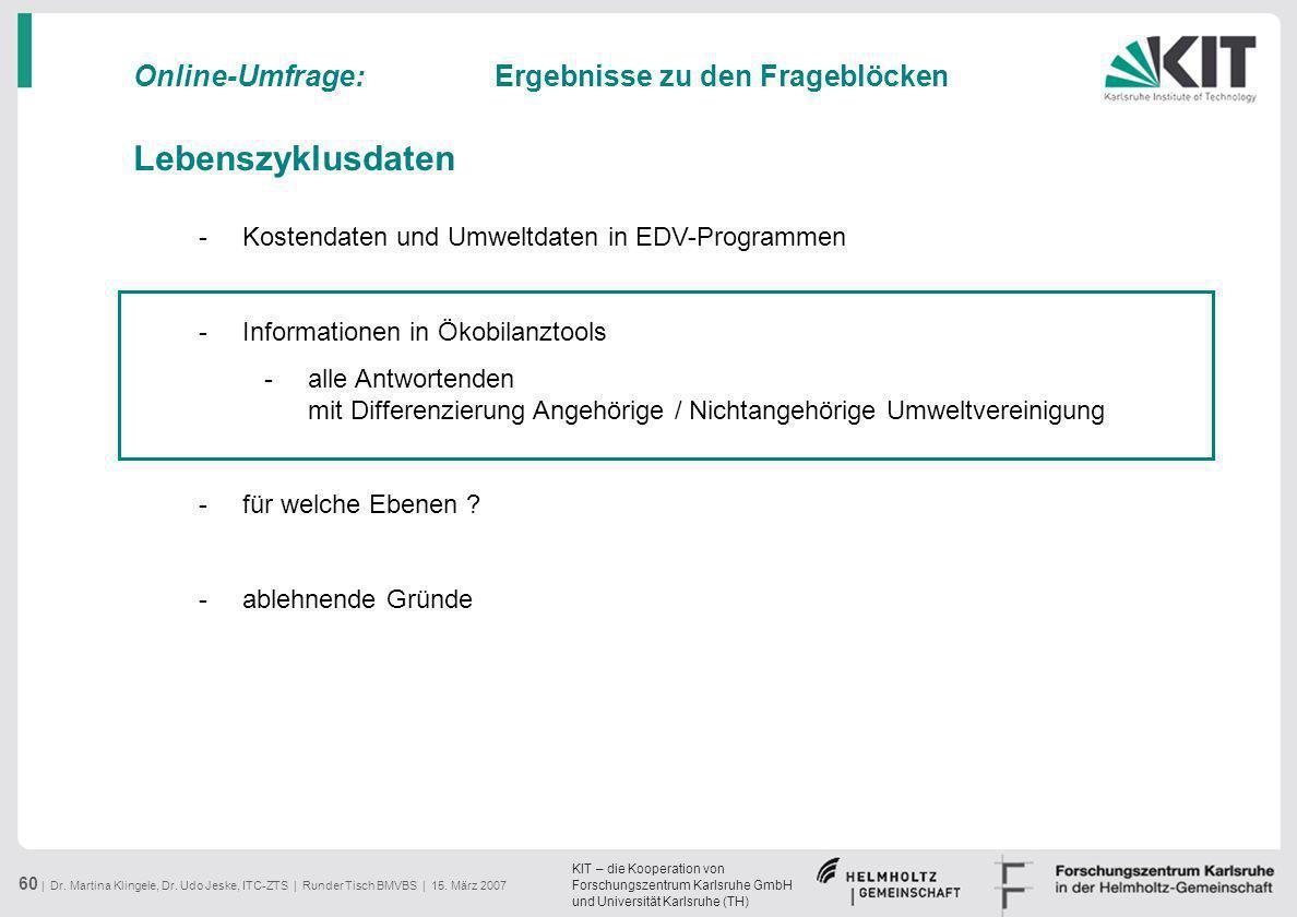 KIT – die Kooperation von Forschungszentrum Karlsruhe GmbH und Universität Karlsruhe (TH) 60 | Dr. Martina Klingele, Dr. Udo Jeske, ITC-ZTS | Runder T