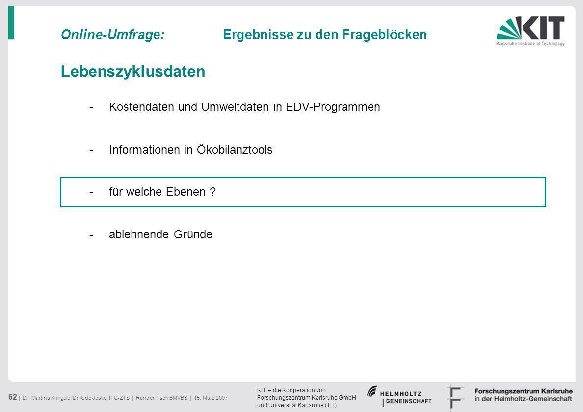 KIT – die Kooperation von Forschungszentrum Karlsruhe GmbH und Universität Karlsruhe (TH) 62 | Dr. Martina Klingele, Dr. Udo Jeske, ITC-ZTS | Runder T