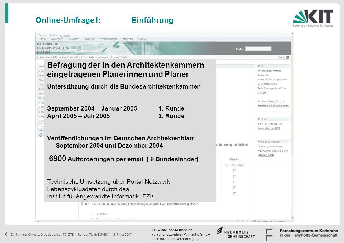 KIT – die Kooperation von Forschungszentrum Karlsruhe GmbH und Universität Karlsruhe (TH) 8 | Dr. Martina Klingele, Dr. Udo Jeske, ITC-ZTS | Runder Ti