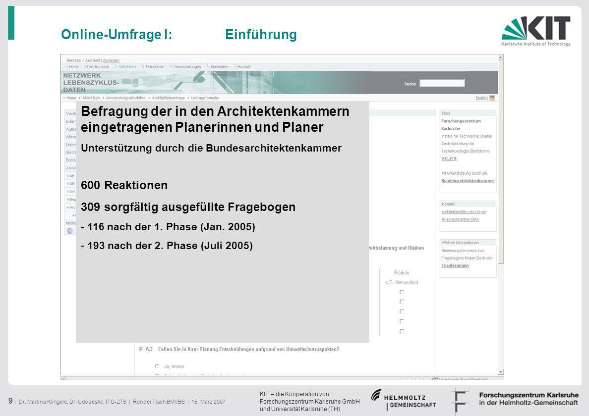 KIT – die Kooperation von Forschungszentrum Karlsruhe GmbH und Universität Karlsruhe (TH) 9 | Dr. Martina Klingele, Dr. Udo Jeske, ITC-ZTS | Runder Ti