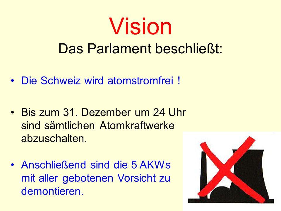 Vision Das Parlament beschließt: Die Schweiz wird atomstromfrei ! Bis zum 31. Dezember um 24 Uhr sind sämtlichen Atomkraftwerke abzuschalten. Anschlie