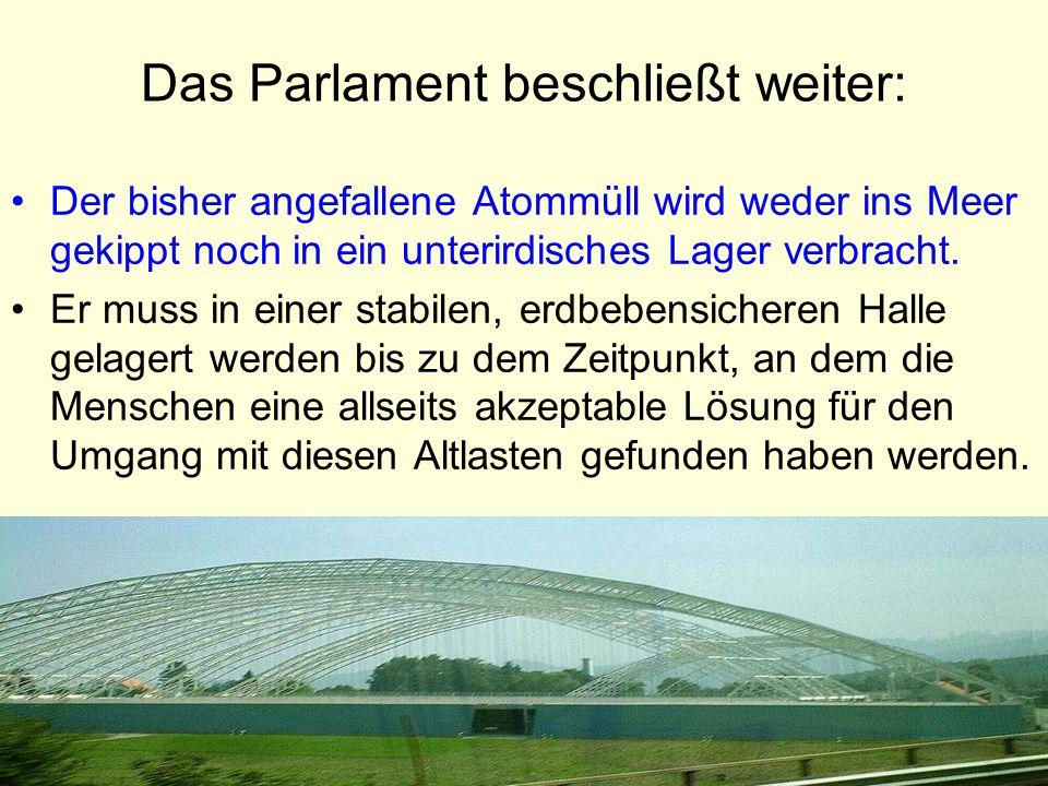 Das Parlament beschließt weiter: Der bisher angefallene Atommüll wird weder ins Meer gekippt noch in ein unterirdisches Lager verbracht. Er muss in ei