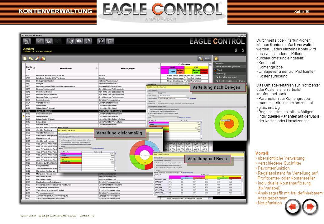 Willi Nusser – © Eagle Control GmbH 2008 Version 1.0 Seite 10 KONTENVERWALTUNG Durch vielfältige Filterfunktionen können Konten einfach verwaltet werd