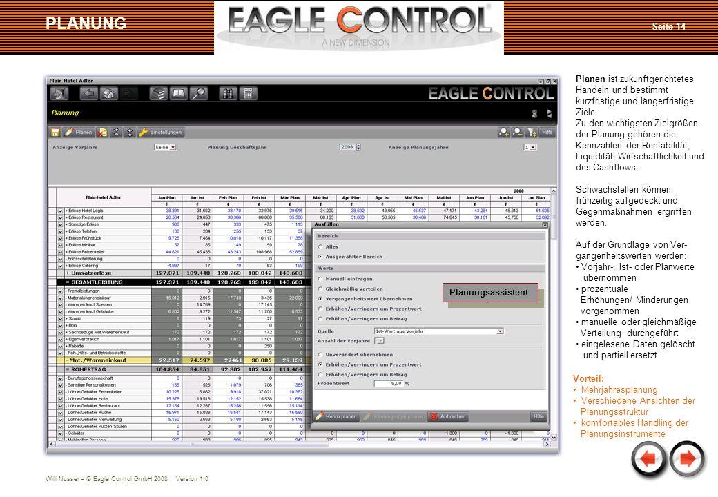 Willi Nusser – © Eagle Control GmbH 2008 Version 1.0 PLANUNG Planen ist zukunftgerichtetes Handeln und bestimmt kurzfristige und längerfristige Ziele.