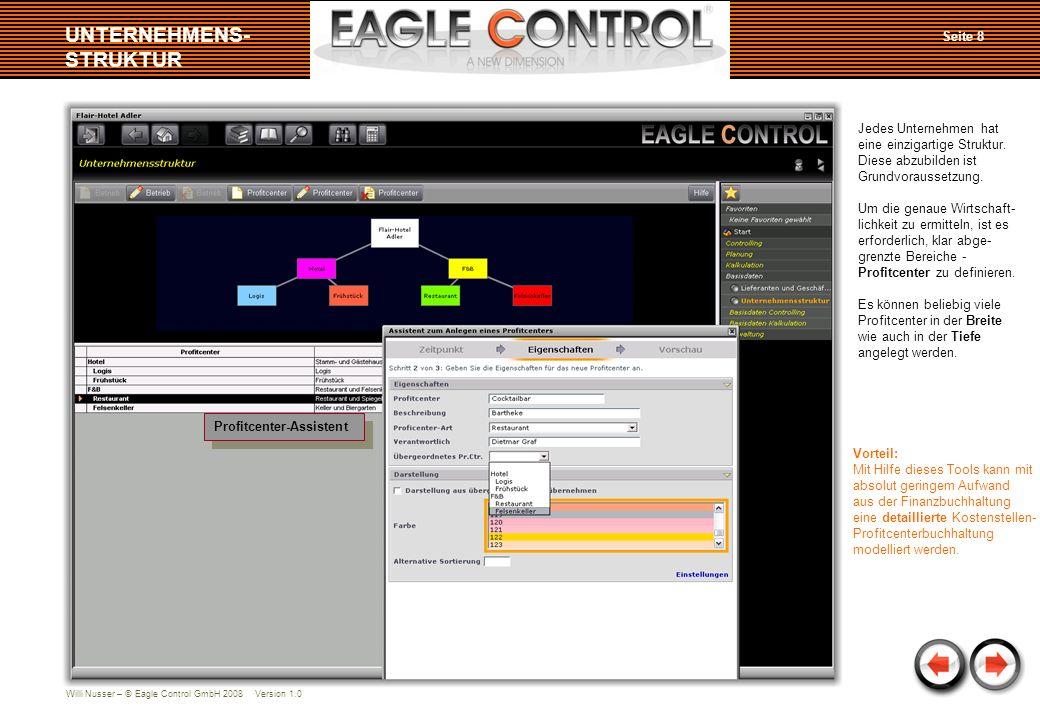 Willi Nusser – © Eagle Control GmbH 2008 Version 1.0 Seite 9 DATENIMPORT Summen-/Saldenliste importiert Übersicht importierter Daten Die Monatsabschlüsse der Finanzbuchhaltung werden über eine Importfunktion ein- gelesen oder automatisch neu angelegt.