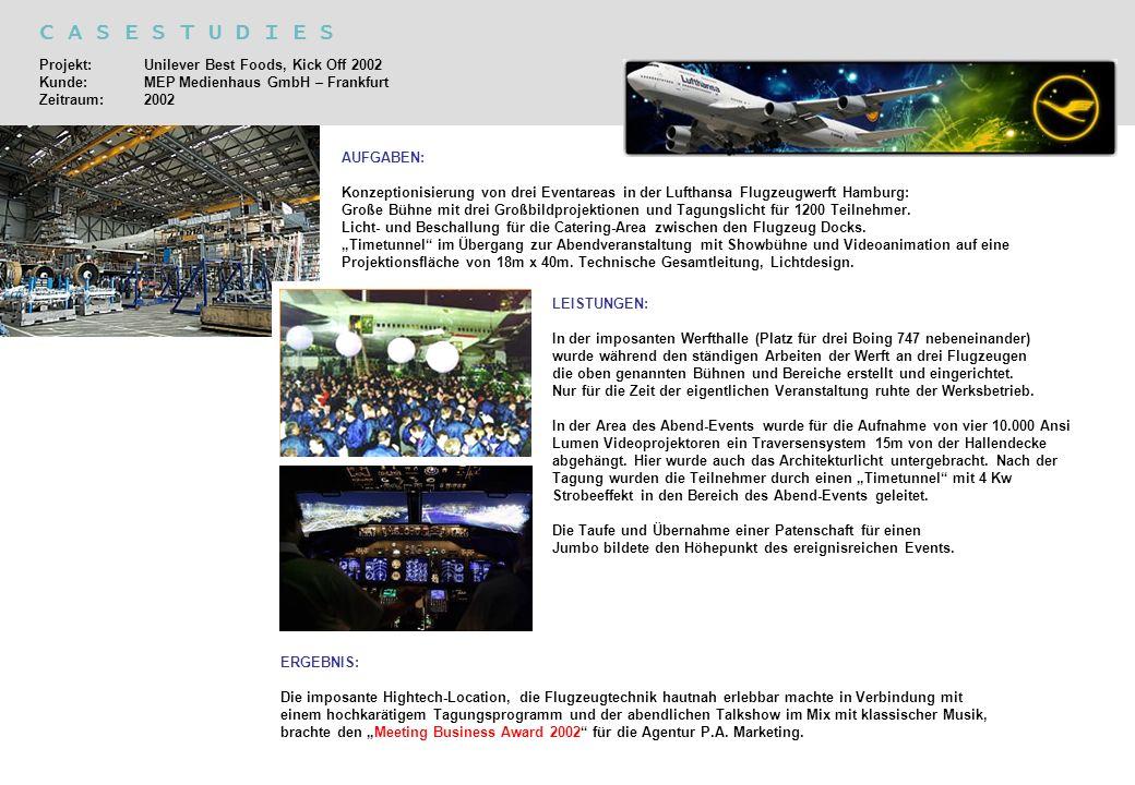C A S E S T U D I E S Projekt: Unilever Best Foods, Kick Off 2002 Kunde: MEP Medienhaus GmbH – Frankfurt Zeitraum:2002 AUFGABEN: Konzeptionisierung vo