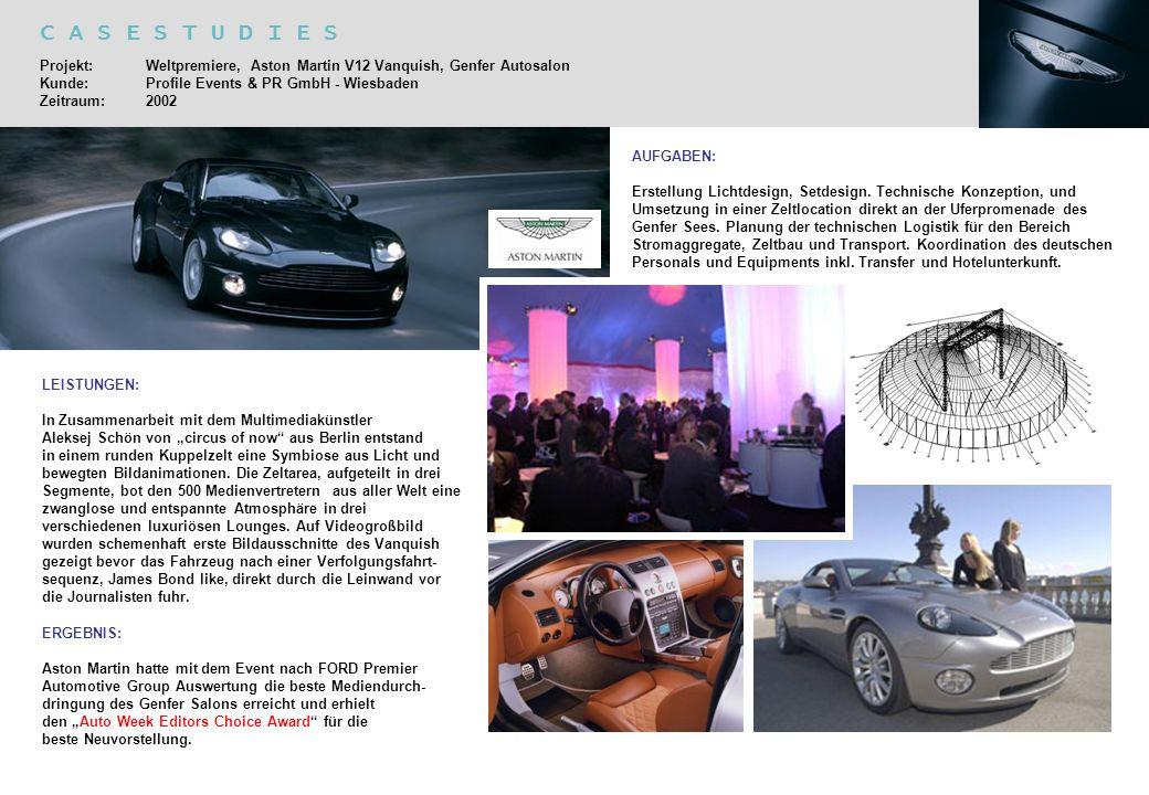 C A S E S T U D I E S Projekt: Weltpremiere, Aston Martin V12 Vanquish, Genfer Autosalon Kunde: Profile Events & PR GmbH - Wiesbaden Zeitraum:2002 AUF