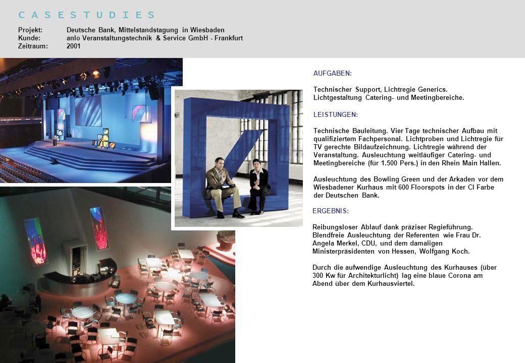 C A S E S T U D I E S Projekt: Deutsche Bank, Mittelstandstagung in Wiesbaden Kunde: anlo Veranstaltungstechnik & Service GmbH - Frankfurt Zeitraum:20