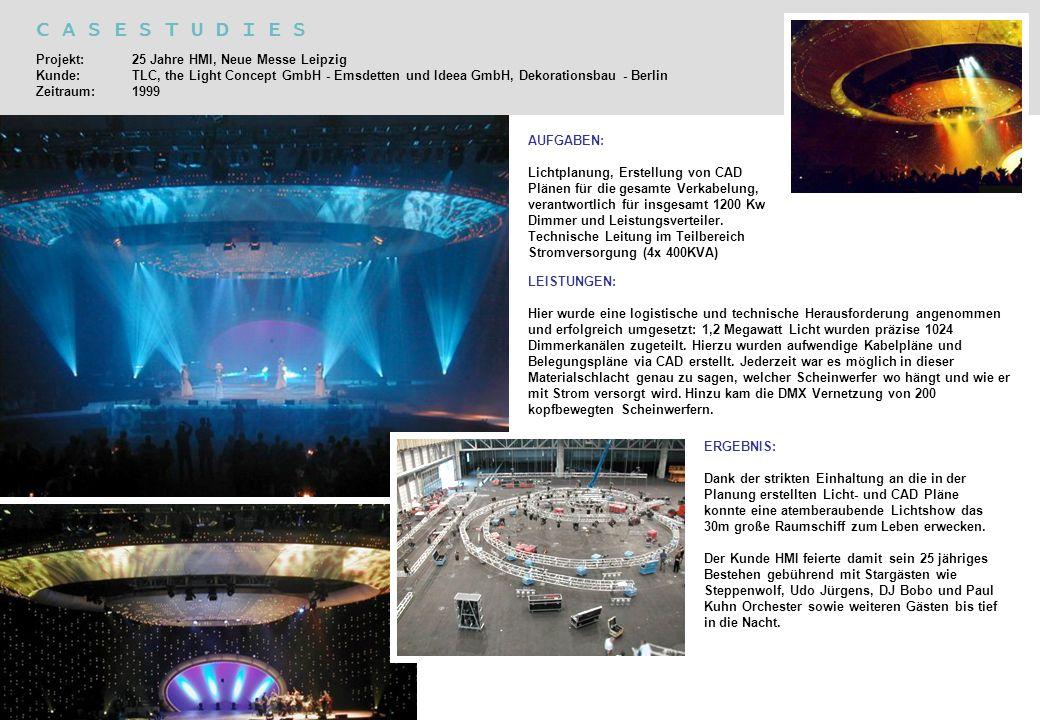 C A S E S T U D I E S Projekt: 25 Jahre HMI, Neue Messe Leipzig Kunde: TLC, the Light Concept GmbH - Emsdetten und Ideea GmbH, Dekorationsbau - Berlin
