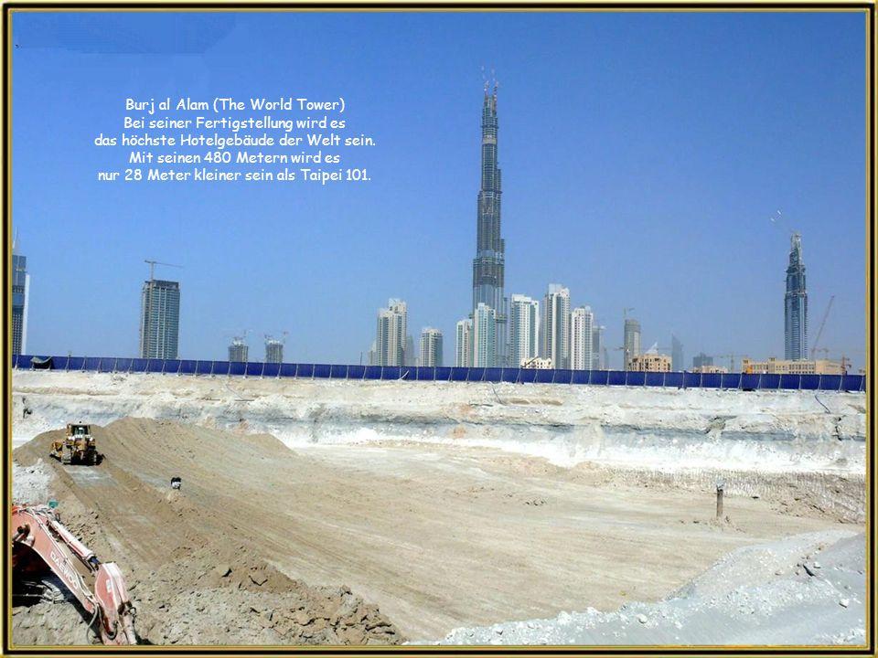 So wird sich das Stadtzentrum von Dubai in den nächsten Monaten präsentieren. Bereits sind über 140 Stockwerke des Burj Dubai gebaut. Das Burj Dubai w