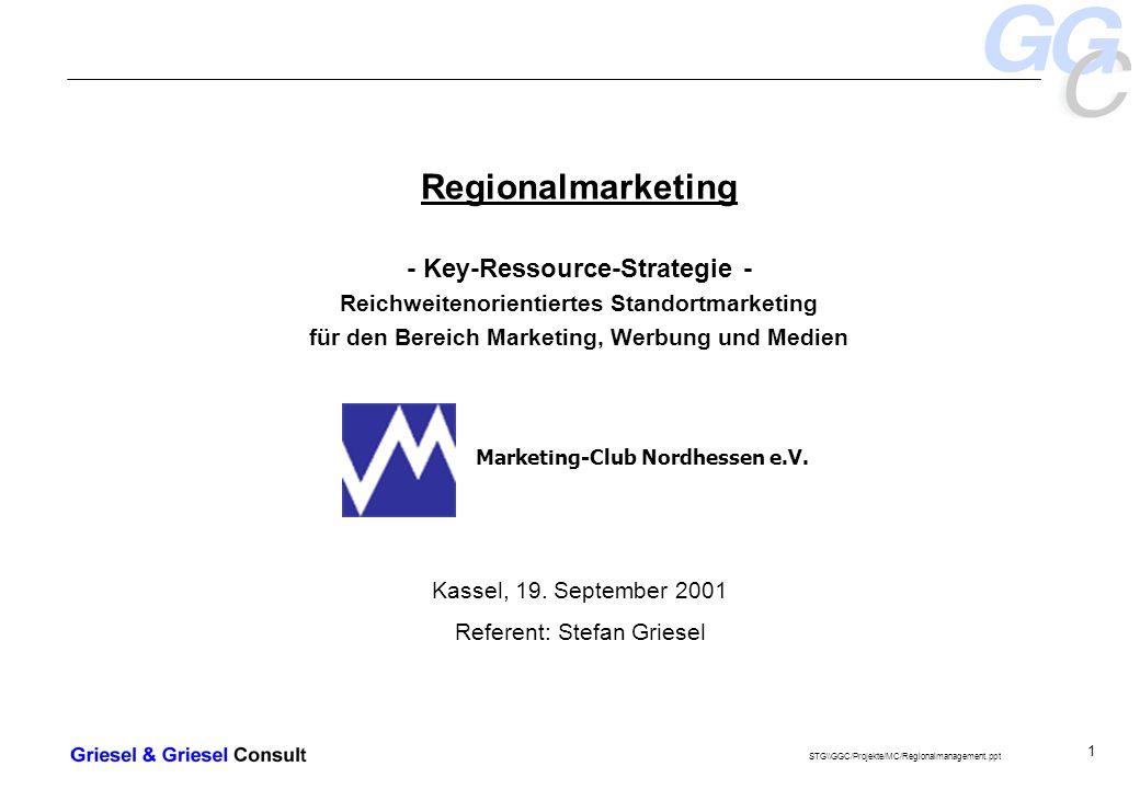 - 1 - Regionalmarketing - Key-Ressource-Strategie - Reichweitenorientiertes Standortmarketing für den Bereich Marketing, Werbung und Medien Kassel, 19.