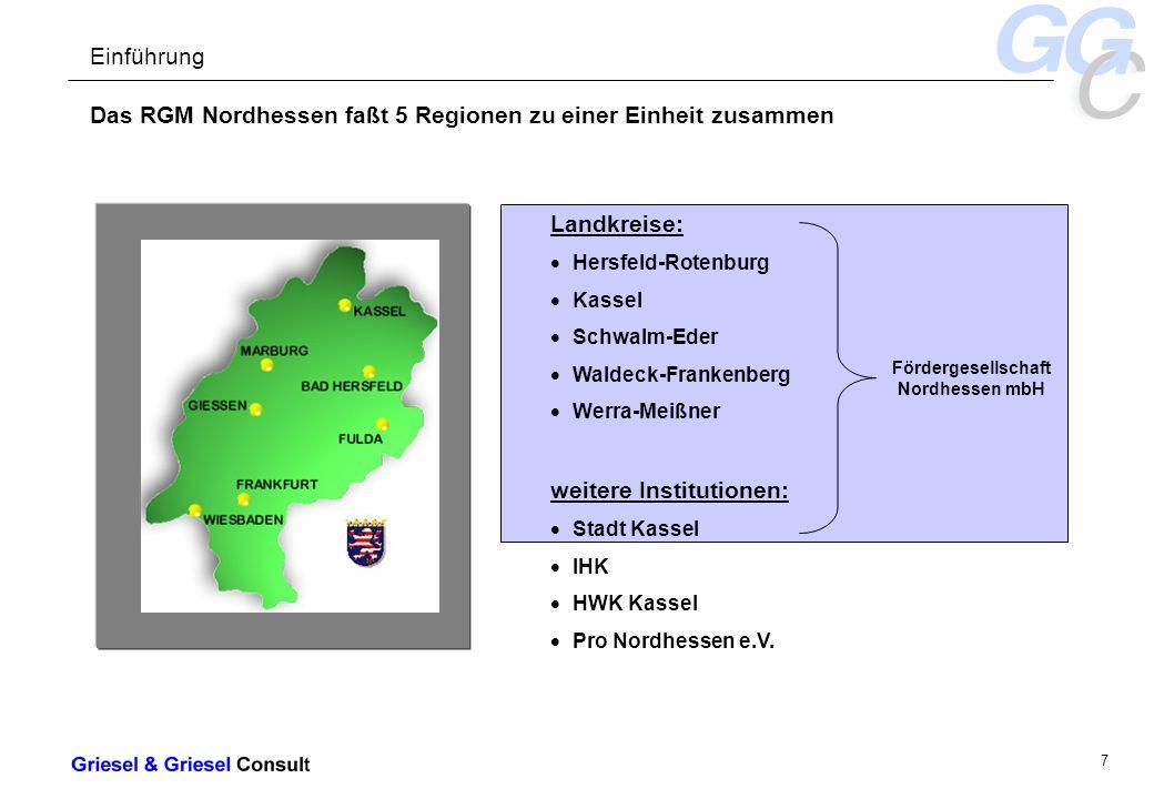 - 7 - Das RGM Nordhessen faßt 5 Regionen zu einer Einheit zusammen Einführung Landkreise: Hersfeld-Rotenburg Kassel Schwalm-Eder Waldeck-Frankenberg Werra-Meißner weitere Institutionen: Stadt Kassel IHK HWK Kassel Pro Nordhessen e.V.