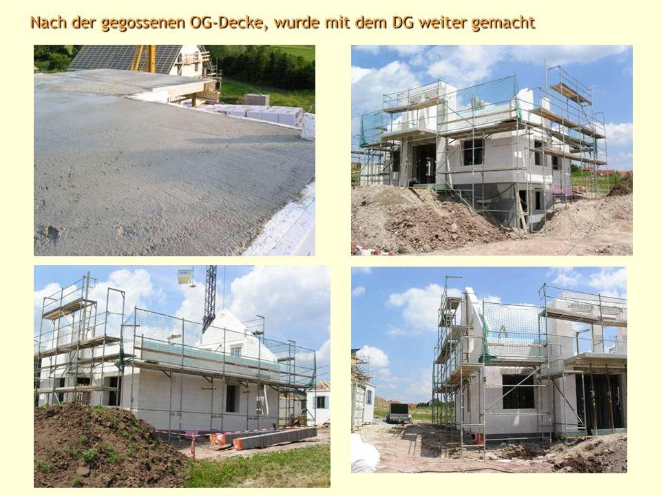 Hier wurde auch schon die OG-Decke gegossen Verfüllen der Kellerwände (Arbeitsräume)