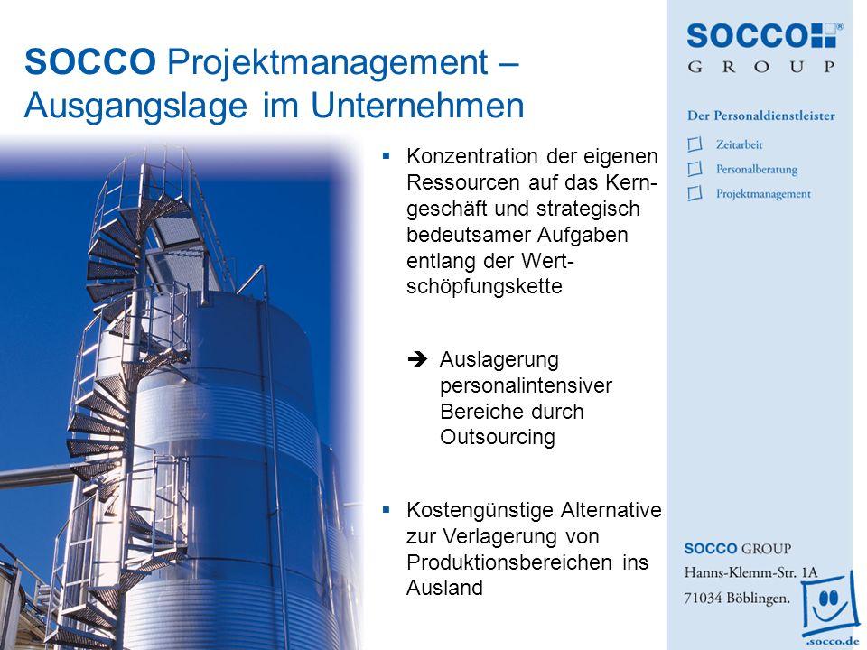 SOCCO Projektmanagement – Ausgangslage im Unternehmen Konzentration der eigenen Ressourcen auf das Kern- geschäft und strategisch bedeutsamer Aufgaben