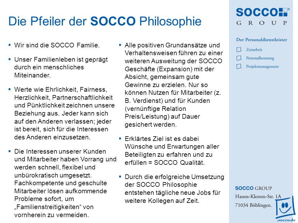 Wir sind die SOCCO Familie. Unser Familienleben ist geprägt durch ein menschliches Miteinander. Werte wie Ehrlichkeit, Fairness, Herzlichkeit, Partner