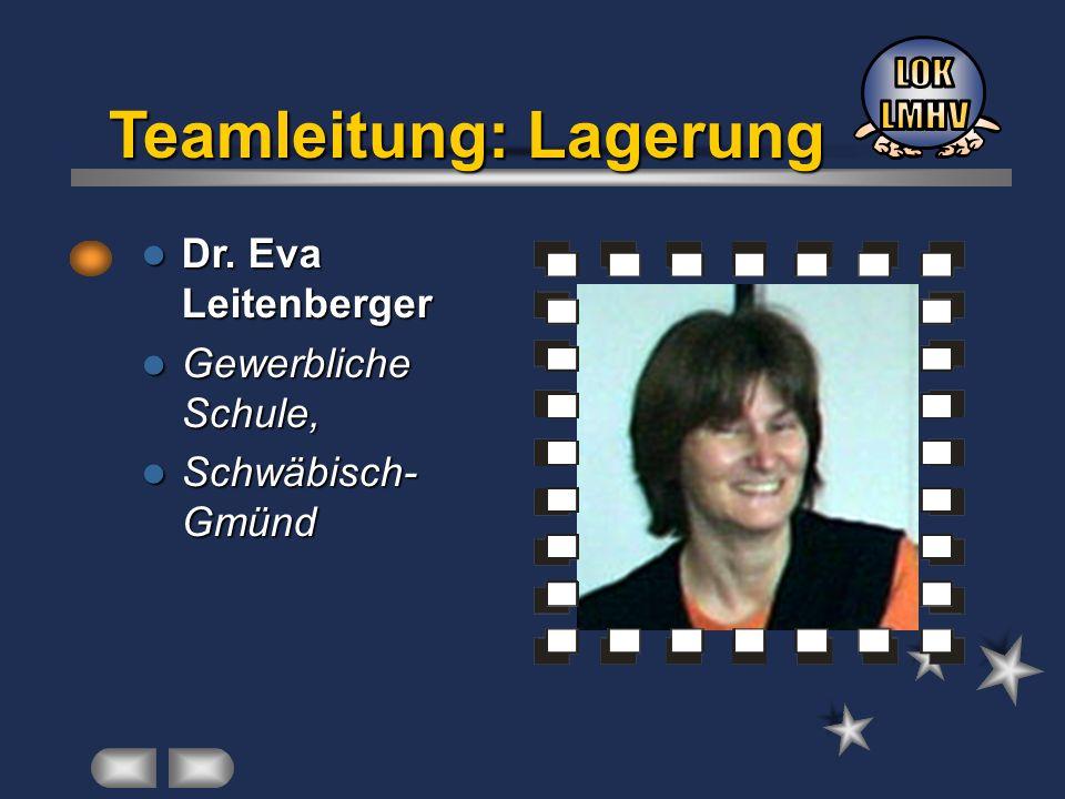 Dr. Eva Leitenberger Dr. Eva Leitenberger Gewerbliche Schule, Gewerbliche Schule, Schwäbisch- Gmünd Schwäbisch- Gmünd Teamleitung: Lagerung