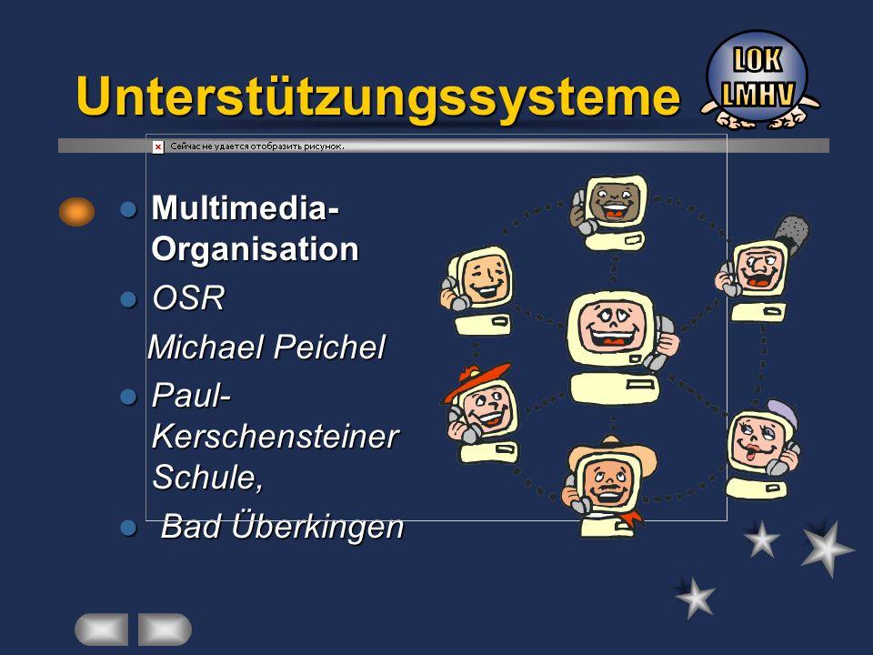 Unterstützungssysteme Multimedia- Organisation Multimedia- Organisation OSR OSR Michael Peichel Michael Peichel Paul- Kerschensteiner Schule, Paul- Ke