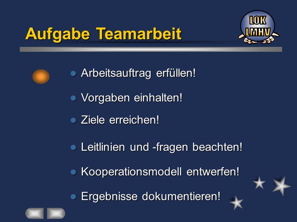 Aufgabe Teamarbeit Arbeitsauftrag erfüllen! Arbeitsauftrag erfüllen! Vorgaben einhalten! Vorgaben einhalten! Ziele erreichen! Ziele erreichen! Leitlin