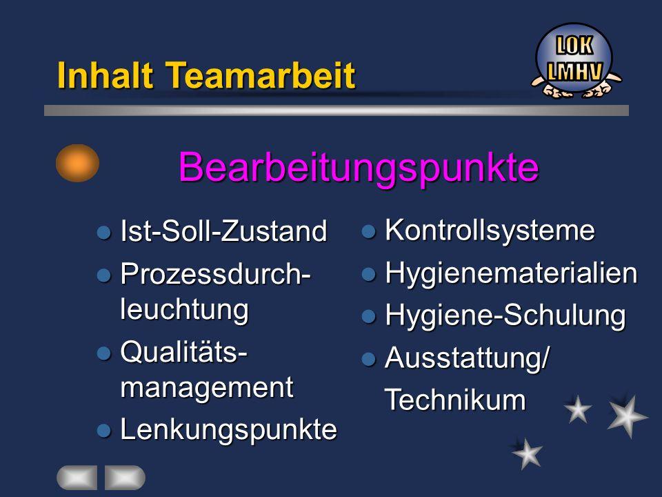 Bearbeitungspunkte Inhalt Teamarbeit Ist-Soll-Zustand Ist-Soll-Zustand Prozessdurch- leuchtung Prozessdurch- leuchtung Qualitäts- management Qualitäts