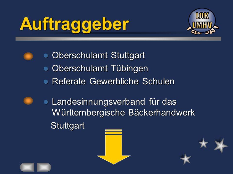 Auftraggeber Oberschulamt Stuttgart Oberschulamt Stuttgart Oberschulamt Tübingen Oberschulamt Tübingen Referate Gewerbliche Schulen Referate Gewerblic