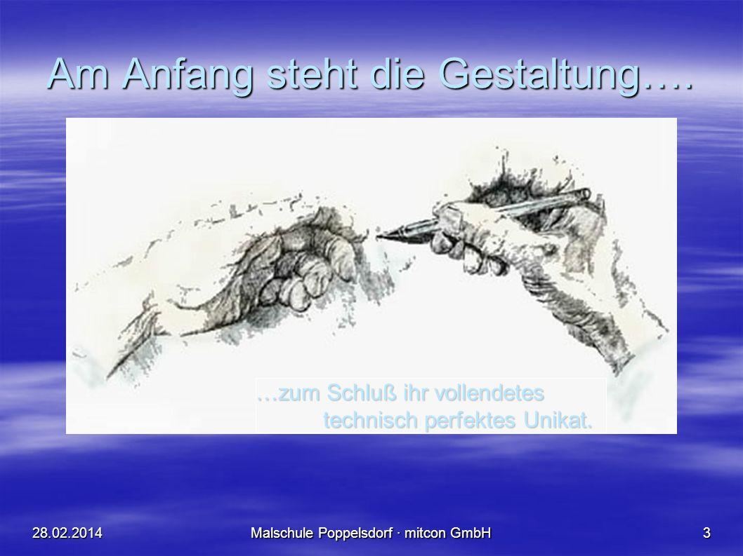 28.02.2014Malschule Poppelsdorf · mitcon GmbH3 Am Anfang steht die Gestaltung….