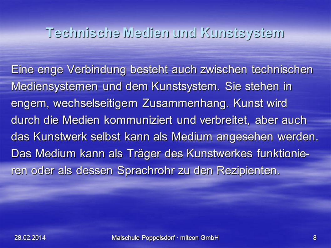 28.02.2014Malschule Poppelsdorf · mitcon GmbH8 Technische Medien und Kunstsystem Eine enge Verbindung besteht auch zwischen technischen Mediensystemen und dem Kunstsystem.