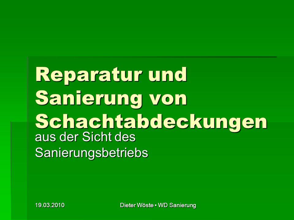 19.03.2010Dieter Wöste WD Sanierung Bild 1: Schadensbilder zu reparierender Schachtgeschränke