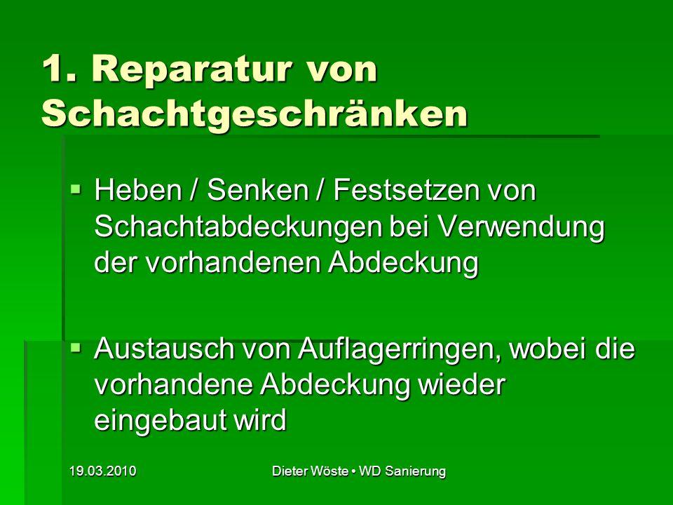 19.03.2010Dieter Wöste WD Sanierung Bild 2: Hydraulischer Schachtrahmenheber