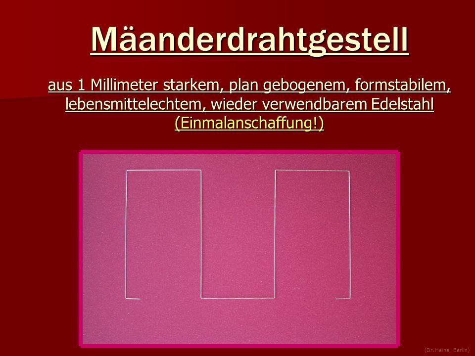 Mäanderdrahtgestell aus 1 Millimeter starkem, plan gebogenem, formstabilem, lebensmittelechtem, wieder verwendbarem Edelstahl (Einmalanschaffung!) (Dr