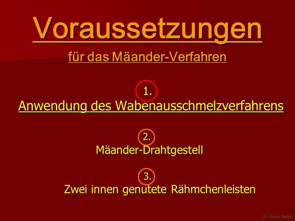 Voraussetzungen für das Mäander-Verfahren 1. Anwendung des Wabenausschmelzverfahrens Anwendung des Wabenausschmelzverfahrens 2. 2. Mäander-Drahtgestel