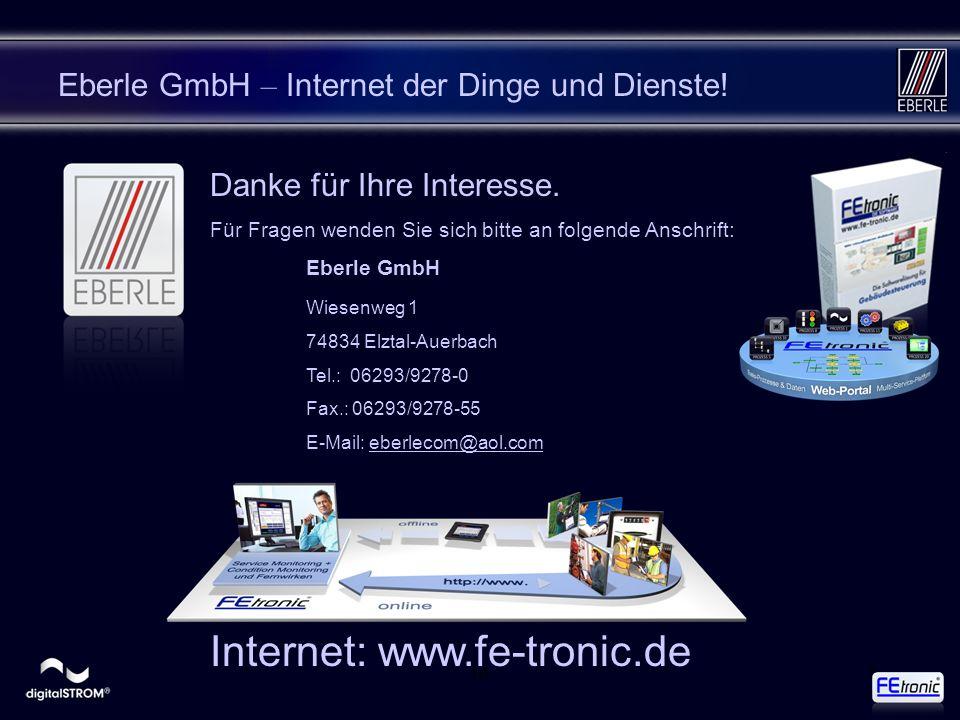 168 Eberle GmbH – Internet der Dinge und Dienste! Danke für Ihre Interesse. Für Fragen wenden Sie sich bitte an folgende Anschrift: Eberle GmbH Wiesen