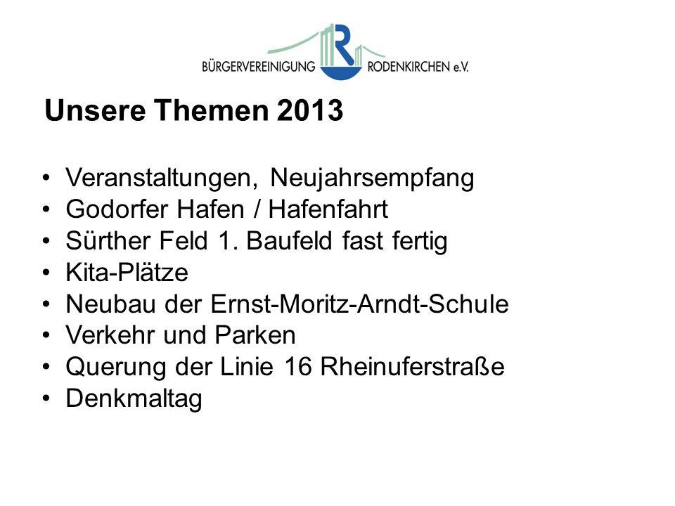 Unsere Themen 2013 Veranstaltungen, Neujahrsempfang Godorfer Hafen / Hafenfahrt Sürther Feld 1. Baufeld fast fertig Kita-Plätze Neubau der Ernst-Morit
