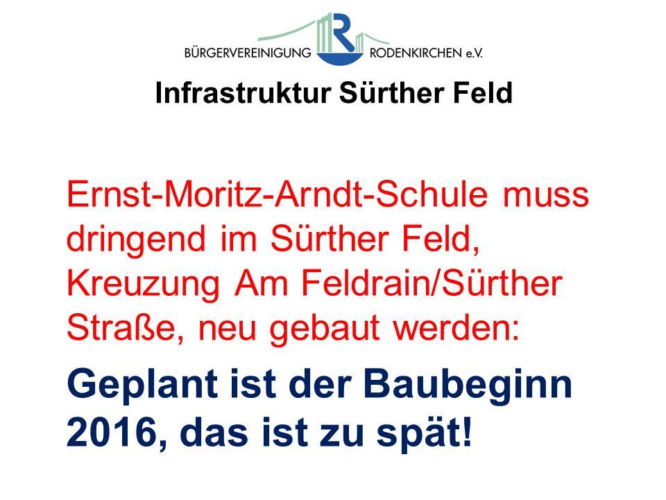 Infrastruktur Sürther Feld Ernst-Moritz-Arndt-Schule muss dringend im Sürther Feld, Kreuzung Am Feldrain/Sürther Straße, neu gebaut werden: Geplant is