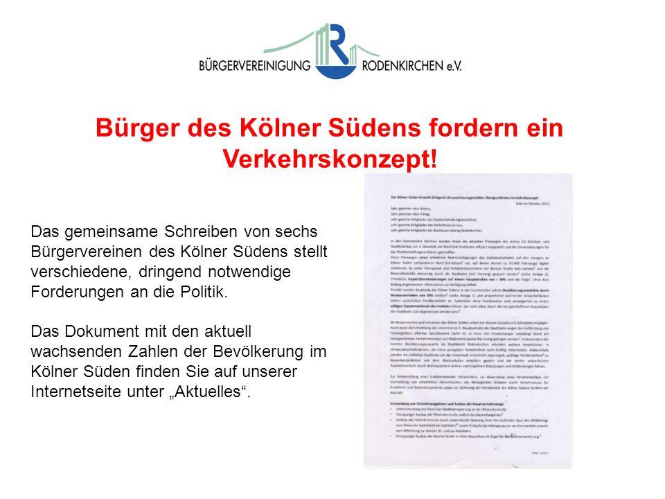 Bürger des Kölner Südens fordern ein Verkehrskonzept! Das gemeinsame Schreiben von sechs Bürgervereinen des Kölner Südens stellt verschiedene, dringen